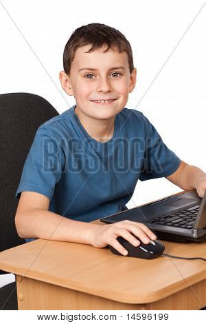 Schoolboy At The Laptop