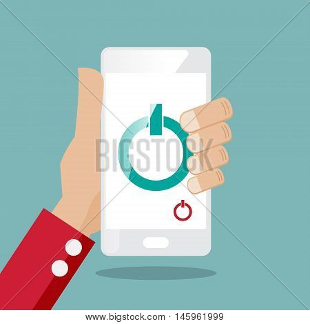 hand with smartphone and power switch icon vector illustration