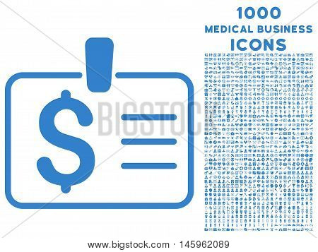 Dollar Badge vector icon with 1000 medical business icons. Set style is flat pictograms, cobalt color, white background.