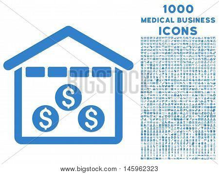 Money Depository vector icon with 1000 medical business icons. Set style is flat pictograms, cobalt color, white background.