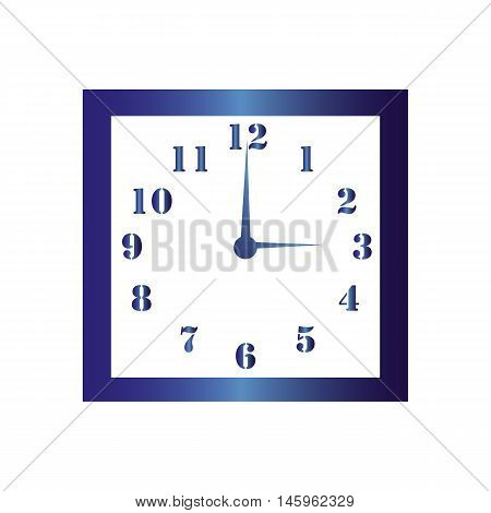 Isolated wall square clock. Vector illustration on white background.Three hours. Three o'clock. 3 o'clock.