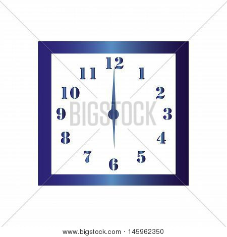 Isolated wall square clock. Vector illustration on white background. Six hours. Six o'clock. 6 o'clock