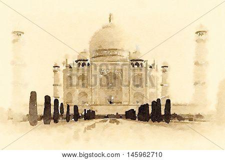 Digital watercolour of Taj Mahal in Agra, India