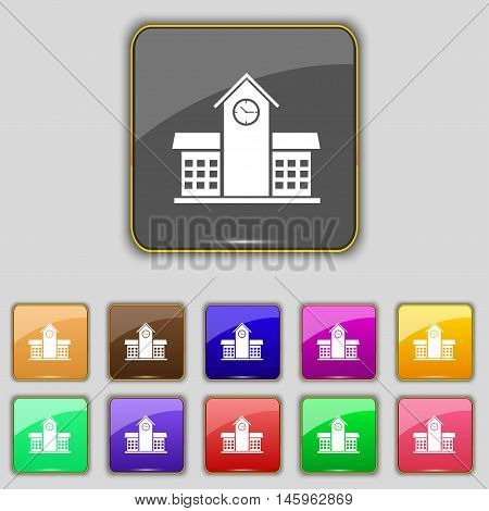 School Professional Icon Sign. Set With Eleven Colored Buttons For Your Site. Vector