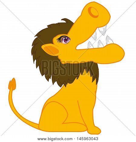 The Wildlife lion on white background is insulated.Vector illustration