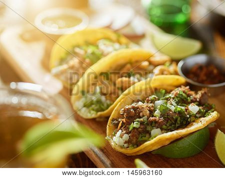 three types of mexican street tacos with barbacoa, carnitas and Chicharr�³n, shot with lens flare and selective focus