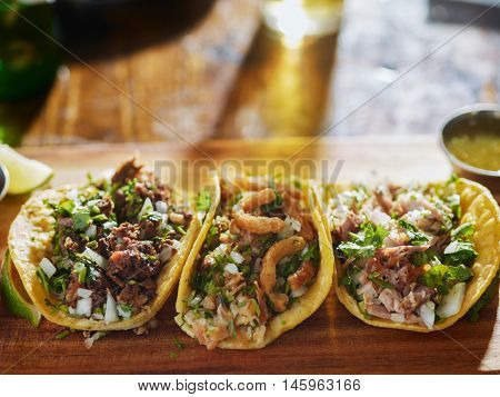 chopped pork, barbacoa and Chicharr�³n tacos