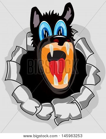 The Cleft plate peering out hole with torn edge.Vector illustration