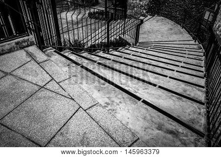 Vintage Staircase In Black And White Hdr