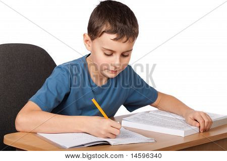 School Child Doing Homework