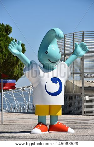 LISBON, PORTUGAL - AUG 21: Expo 98 mascot (Gil) in Lisbon, Portugal, as seen on Aug 21, 2016. The Expo mascot was conceived by the Portuguese duo of painter Antonio Modesto and sculptor Artur Moreira.