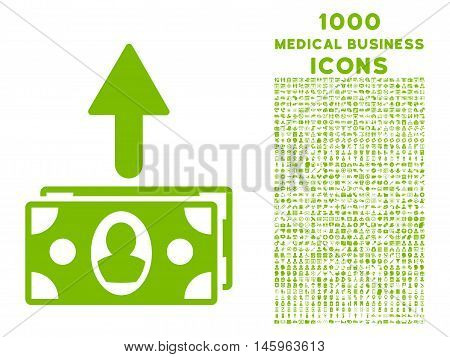 Spend Banknotes vector icon with 1000 medical business icons. Set style is flat pictograms, eco green color, white background.