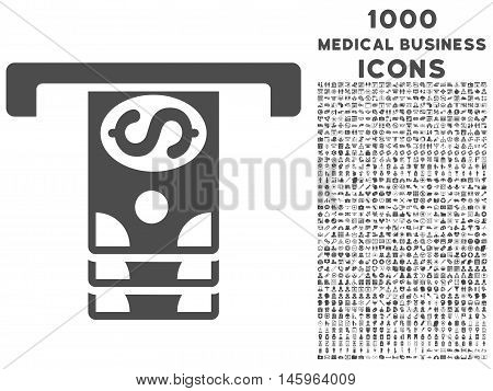 Banknotes Withdraw vector icon with 1000 medical business icons. Set style is flat pictograms, gray color, white background.