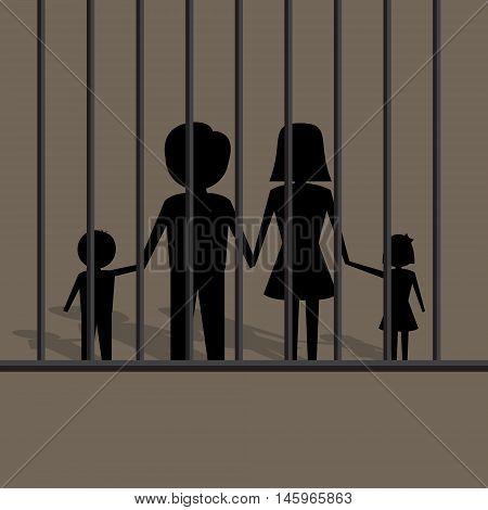 silhouette of family in jail vector illustration