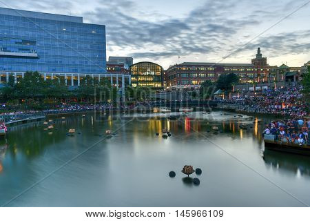 Providence Rhode Island - August 20 2016: Providence Rhode Island cityscape at Waterplace Park.