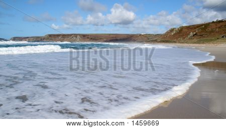 Waves Breaking On The Beach, Sennen Cove, Cornwall.