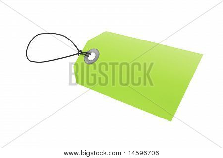 Green price tag with clipping path
