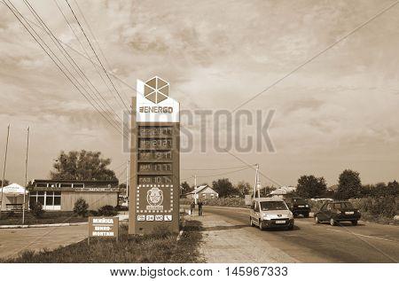 Cars refuel station EnerGO.September 5, 2016 Kiev, Ukraine