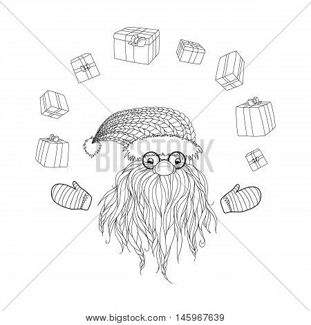 Santa Claus Santa Claus juggles gifts. Beard, glasses, cap, mittens.  Symbols of Christmas characters. Hand-drawn elements for New Year's design. Xmas sketch. Pattern for coloring book. Vector eps 10.