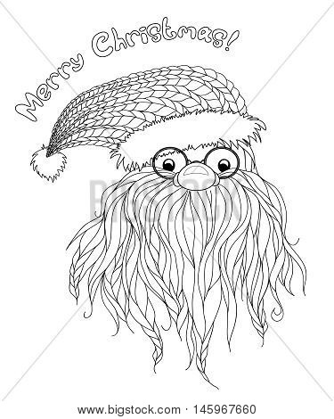 Santa Claus in Zentangle style. Beard, glasses, cap. Symbols of Christmas characters. Merry Christmas. Hand-drawn elements for New Year's design. Xmas sketch. Pattern for coloring book. Vector eps 10.