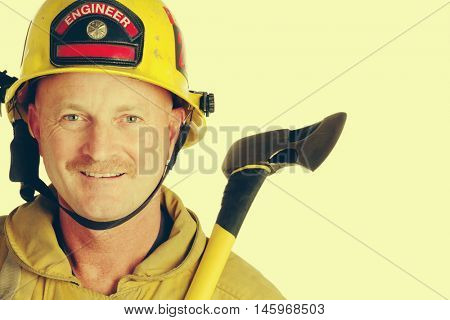 Fire fighter man holding axe