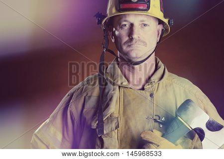 Firefighter fireman man holding axe