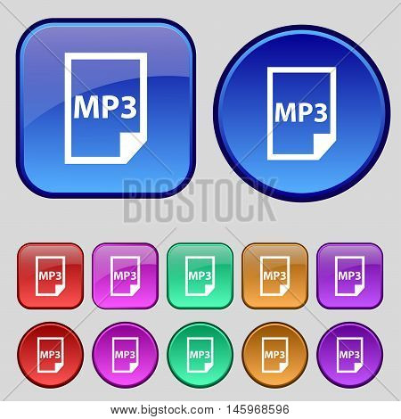 Mp3 Icon Sign. A Set Of Twelve Vintage Buttons For Your Design. Vector