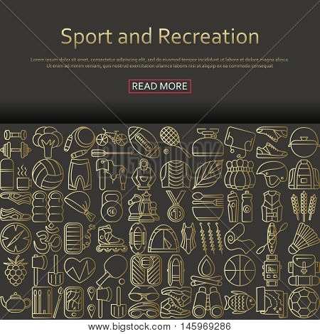Sport and recreation concept made of outlined icons. Vector illustration.