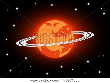 Mars and stars in space . orange Mars with ring