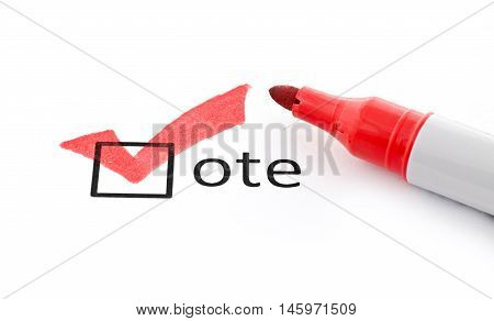 Red check mark on vote checkbox. Concept for voter registration and participation in elections, or for voting red/republican;