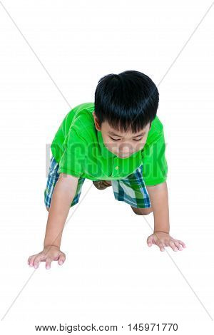 Happy Child Smiling And Crawling On Knees. Isolated On White Background.