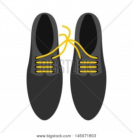 Tied laces on shoes icon in flat style isolated on white background. Joke symbol vector illustration