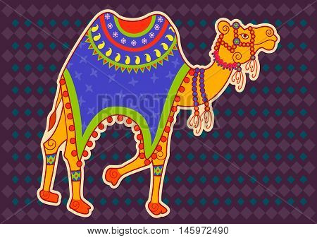 Vector design of decorated Camel in Indian art style