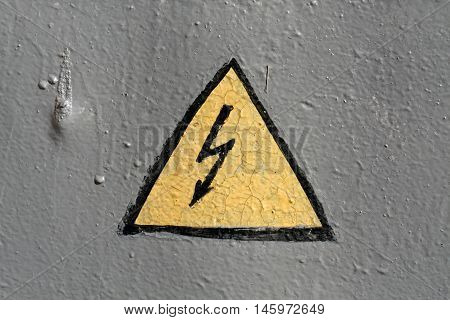 Electric Emergency Warning Sign.