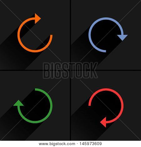 4 arrow icon refresh rotation reset repeat reload sign set 01. Orange blue green red colors pictogram with black long shadow on gray background. Simple flat style vector illustration