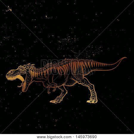 Detailed sketch style drawing of the roaring tirannosaurus rex. Full-lenght figure. Threatening pose. Gold on black nightsky background. EPS10 vector illustration.