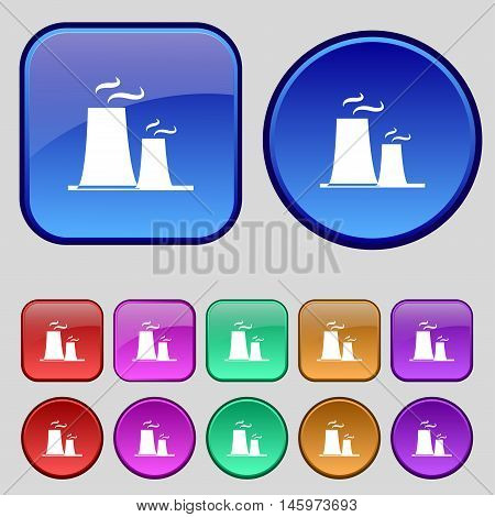 Atomic Power Station Icon Sign. A Set Of Twelve Vintage Buttons For Your Design. Vector
