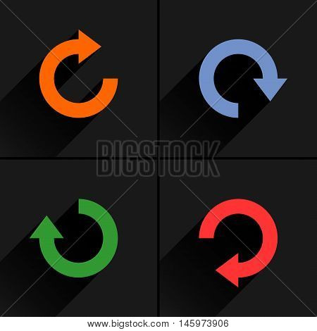 4 arrow icon refresh rotation reset repeat reload sign set 03. Orange blue green red colors pictogram with black long shadow on gray background. Simple flat style vector illustration