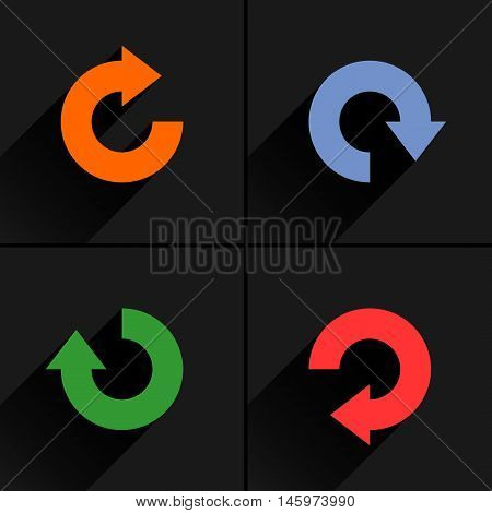 4 arrow icon refresh rotation reset repeat reload sign set 04. Orange blue green red colors pictogram with black long shadow on gray background. Simple flat style vector illustration