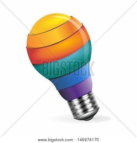 Vector 3D Rendering Creative Conceptual Rainbow Color Light Bulb Idea Illustration isolated on white background