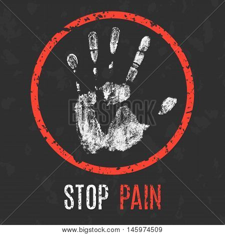 Conceptual vector illustration. Human diseases. Stop pain.
