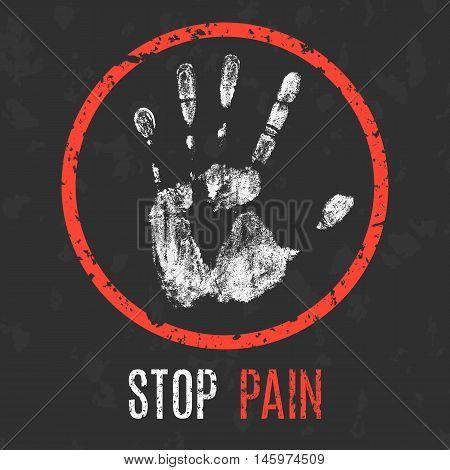 Conceptual vector illustration. Human diseases. Stop pain.