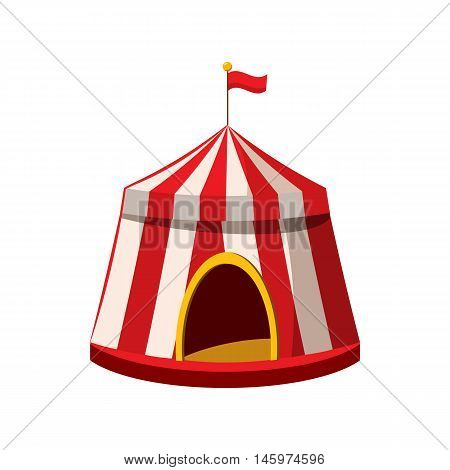 Circus tent icon in cartoon style isolated on white background. Entertainment symbol vector illustration