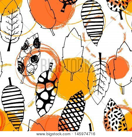Leaves hand drawn vector seamless pattern. Black white orange yellow graphic design. Abstract foliage for textile, background, clothe and so on. Doodle sketch. Vector illustration.