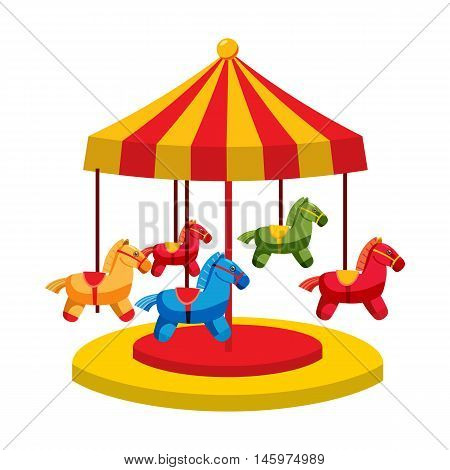 Carousel with horses icon in cartoon style isolated on white background. Attraction symbol vector illustration
