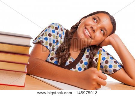 Pretty Hispanic Girl Daydreaming While Studying Isolated on a White Background.