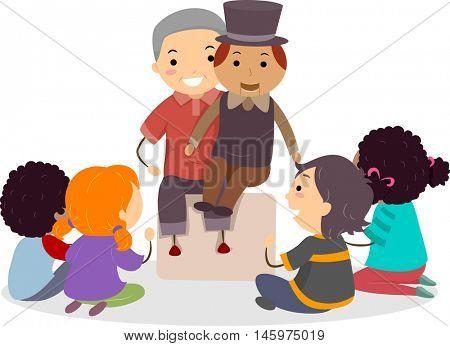 Stickman Illustration of Kids Watching a Ventriloquist Perform