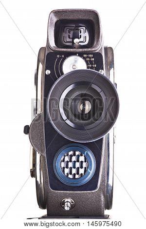 Retro Mechanical Hobbies Movie Camera Isolated