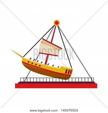 Boat swing icon in cartoon style isolated on white background. Attraction symbol vector illustration