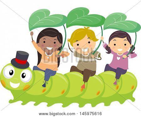 Stickman Illustration of Kids Playfully Riding a Caterpillar